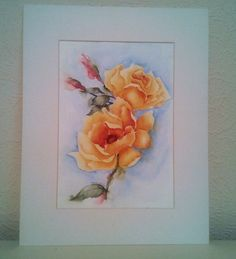 Watercolour Painting, Yellow Rose, Floral Art, Garden Flowers, Art For Homeware. £38.00