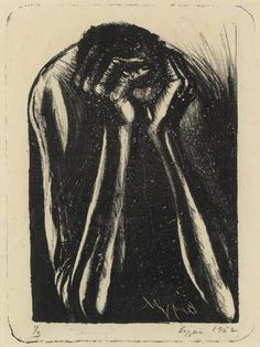 John Biggers - Frustration (Seeking), 1952, Lithograph