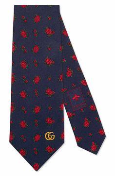 Main Image - Gucci Rosebuds Logo Silk Jacquard Tie