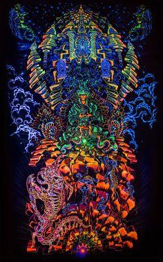 UV Backdrop Heave-n-Hell Psychedelic Deco 1,5m x 2,7m Hippie Goa Cloth Art Image