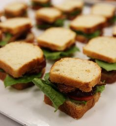 Mini BLT. Mini brioche loaves are sliced, toasted. B, L and T are added