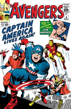 "The Avengers #4.  With the Hulk already gone, Captain America is found & revived to join The Avengers.  Also of note, Bucky's ""death"" & Cap's suspended animation are recalled in this issue's flashback (having never actually taken place in any issue prior.)"