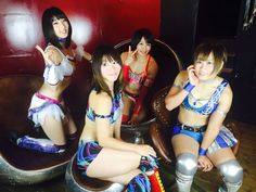 Makoto, Maki Narumiya, Syuri and Konami http://joshipuroresu.blogspot.com/2015/07/makoto-japanese-female-wrestlers.html
