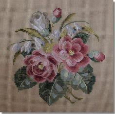 A huge range of floral spray designs suitable for cushions, footstools or chair seats. Embroidery Stitches, Embroidery Patterns, Hand Embroidery, Cross Stitch Rose, Cross Stitch Flowers, White Rose Bouquet, Tapestry Kits, Cross Stitch Alphabet, Cross Stitch Designs