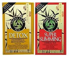Triple Leaf Caffeine Free Herbal Tea 2 Flavor Variety Bundle: (1) Triple Leaf Chinese Detox Tea (20 count) and (1) Triple Leaf Super Slimming Tea (20 Count)