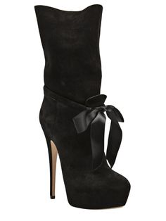 "Casadei - Bow boot - suede boot features a pointed toe, sheen front bow detail at the ankle, and a 7.5"" shaft with back slit detail. Has a concealed 1.5"" toe platform and a 6"" stiletto heel."
