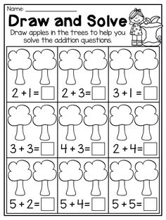 Kindergarten Picture Addition Worksheet. This Fall Kindergarten Math and Literacy Worksheet Pack features 51 NO PREP worksheets. The pack features so many diverse activities relating to beginning sounds, ending sounds, short vowels, CVC words, alphabet work, syllables, rhyming, number order, counting, addition, subtraction, place value, shapes, pattersn, word problems and so much more!! These worksheets are ideal for literacy centers, math centers, phonics interventions, home-schooling or…
