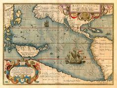 "Year: 1589 Size: 20""x28"". Mars Pacifici (Map of the Pacific Ocean with America and Australia). This map, the first to be printed that was devoted to the Pacific Ocean. 