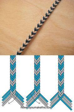 8-strand fishtail weave bracelet, chevron pattern . . . . ღTrish W ~ http://www.pinterest.com/trishw/ . . . . #handmade #jewelry #macrame