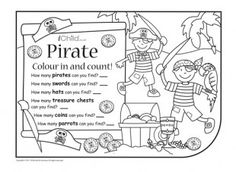 Print this activity and let your child have fun colouring and counting the pirate images!