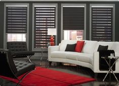 Bugsy's Blinds and Custom Shutters Contemporary Window Treatments, Contemporary Windows, Custom Window Treatments, Contemporary Decor, Sheer Shades, Shades Blinds, Shades Window, Persiana Sheer Elegance, Custom Shutters