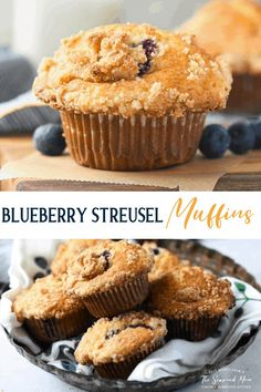 The best blueberry muffins are moist and fluffy, full of fresh, juicy berries and finished with a buttery brown sugar streusel crumb topping. These bake shop Blueberry Streusel Muffins are big, decadent, and totally satisfying. Whip up a batch for a convenient grab-and-go breakfast, a lovely addition to a brunch buffet, or a sweet make-ahead afternoon snack. They're freezer-friendly, too! Delicious Breakfast Recipes, Delicious Desserts, Yummy Food, Yummy Recipes, Muffin Recipes, Snack Recipes, Dessert Recipes, Brunch Recipes, Blueberry Streusel Muffins