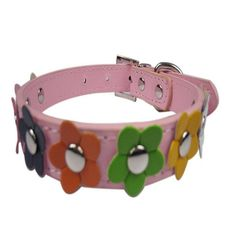 DINGANG Pet Small Dog Puppy Cat Animal Neck Strap Ring Band Candy Color Flower Studded Collar Adjustable PU Leather Buckle * Startling review available here  : Cat accessories