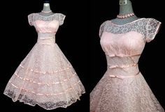 Vintage 50s Dress 1950s Pink Tulle Lace Prom Dress