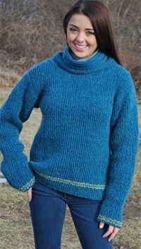 """Timberline Cowl Neck Sweater free pattern  Loom: 28"""" Knitting Board with peg extenders"""