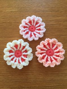 March Flower pattern https://www.etsy.com/listing/502121776/crocheted-flower-decoration-set-of-3?ref=shop_home_active_2