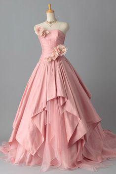 Pink chiffon sweetheart handmade flowers ball gown dresses,long prom dresses