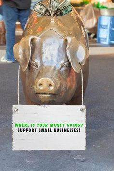 This is an iconic piggy bank statue located in Seattle's Pikes Place Market, where various crafts, foods, etc. are sold by small businesses. Once things start getting back to normal across the US, it will be important to keep reminding people of local and small businesses when they may have only been shopping at the big chains which remained open for the past few months. Pike Place Market, Support Small Business, Guerrilla, Small Businesses, Piggy Bank, Chains, The Past, Foods, Statue