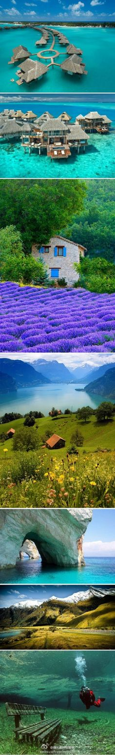 1.Four Seasons Hotel, Bora Bora;2.The Hilton, Bora Bora;3.Provence, France;4.lake lucern, switzerland;5.Zakynthos, Greece;6.New Zealand;8.Green Lake,Austria ,
