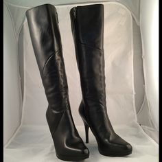 Michael black boots. Michael high heeled boots. Leather upper. About 4.5 inch. More pictures in a different post. Please view both posts before you buy. Michael  Shoes Heeled Boots