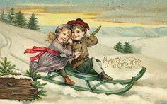 vintage-little-boy-girl-sled-snow-Christmas-card
