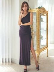 Korean Summer Women's Sexy Charming Inclined Shoulder Side Split Backless Gauze Wedding Party Maxi Dress