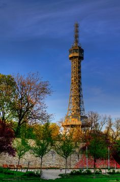 """The Petřín Watchtower – also known as the """"mini Eiffel Tour"""" at the top of Petřín Park offers a stunning view of Prague and the surrounding countryside.  To reach the tower, take the funicular (you'll need a ticket) or head up the windy paths by foot."""
