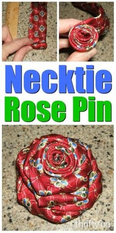 - This is a guide about making a men& silk tie rose pin. Using a tie in your choice of color, you can make this lovely pin for your lapel or purse. Making a Men's Silk Tie Rose Pin Old Neck Ties, Old Ties, Fabric Crafts, Sewing Crafts, Sewing Projects, Upcycled Crafts, Repurposed, Mens Ties Crafts, Neck Tie Crafts