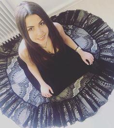 Stella Makaroni wearing a new Lace Skirt by Elena Chalati