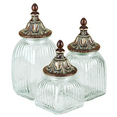 Clear Glass Canister Jar Set of 3 with Lids is an excellent handmade storage item for your kitchen. Made of high-density glass, the fancy canister jars give a clear view of the content inside.