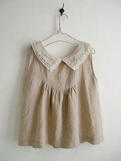 nesessaireレース襟リネンタックブラウスNT - crochet, linen, back