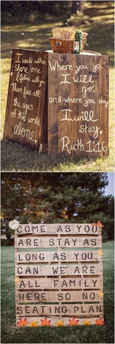 Fall wedding sign ideas / http://www.deerpearlflowers.com/fall-wedding-ideas-for-2017/