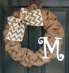 Burlap Chevron Monogram Wreath Burlap  with Gray Chevron Burlap Bow- Front Door Wreath- Monogram Wreath-Wedding Decoration