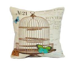 Butterfly pillow cover birdcage throw pillow paris french script 18x18 linen graphic france decor. $44.95, via Etsy.
