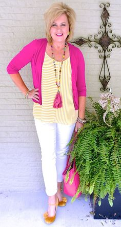 50 IS NOT OLD | STRIPES ARE A SUMMER TREND | Pink and Yellow | Cardigan | Accessories | Fashion over 40 for the everyday woman