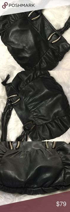 """Via Spiga Bag Pre owned black leather via spiga Satchel Bag. Great condition. Animal print lining. Approximate measurements are 16"""" x 12"""" x 3"""" I don't see any flaws but it's preowned.   Price firm unless bundled  I'm a suggested user and party host, posh ambassador, posh mentor, and I'm five star rated so buy with confidence!  H A P P Y  P O S H I N G  🖤🖤🖤🖤🖤🖤🖤🖤🖤🖤🖤🖤🖤🖤 Via Spiga Bags Hobos"""
