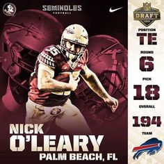 Congrats to NIck O'Leary for being drafted by the Bills in the 2015 NFL Draft, one of my favorite players!