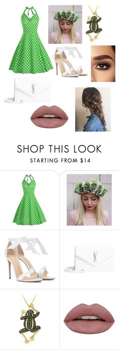 """""""Frog"""" by fennaluxy ❤ liked on Polyvore featuring Alexandre Birman, Yves Saint Laurent and Effy Jewelry"""