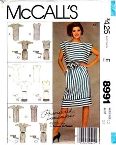 Mcalls 8991 vintage sewing pattern Blouson Dress Bat wing top skirt 80s