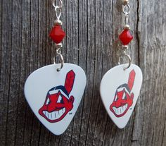 Cleveland Indians Guitar Pick Earrings with Red Crystals by ItsYourPickToo on…