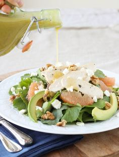 Grapefruit, Kale, Chicken and Avocado Power Salad with Champagne Vinaigrette - My new favorite salad dressing!