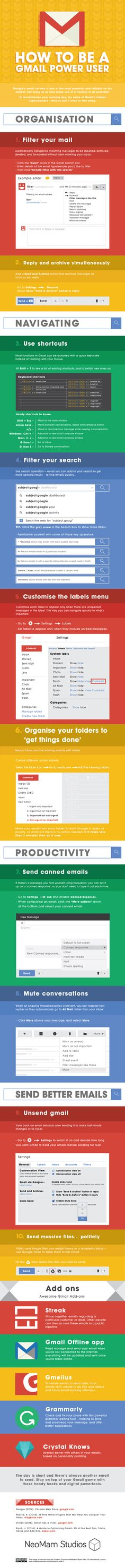 How To Be A Gmail Power User [INFOGRAPHIC] | http://www.digitalinformationworld.com/