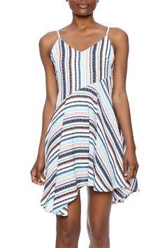 Asymmetrical hem dress in a multicolor stripe pattern with adjustable spaghetti straps.  Multicolor Strap Unbalanced Dress by re:named. Clothing - Dresses - Casual Clothing - Dresses - Printed Manhattan New York City Naples Florida