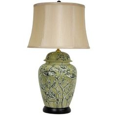 green ginger jar lamp with birds and flowers - perfect for country style decor