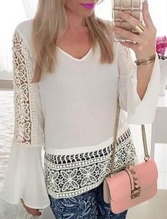 Bell Sleeve Lace Blouse ==