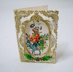 Victorian Valentine card gilded cherubs die cuts Lace card 3D.