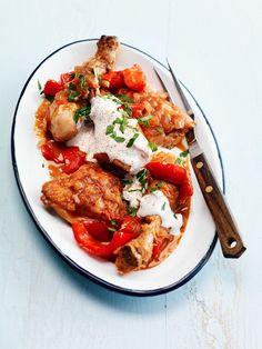 hongaarse gestoofde kip met boerenyoghurt | met #paprika en #tomaten