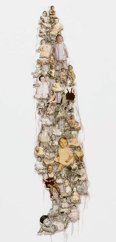 Lisa Kokin Maternal Instinct, mixed media sewn found photo collage, 47 x 13 inches, 2001
