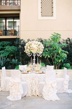 Classic white tablescape w/ ruffles, Caroline Tran, Butterfly Floral and Event Design