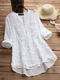 Long Sleeve Cotton V Neck Vintage Blouses – Pinalia V Neck Blouse, Long Blouse, Cheap Blouses, Blouses For Women, Women Tunic, Plus Size Casual, Blouse Vintage, Top Vintage, Vintage Floral